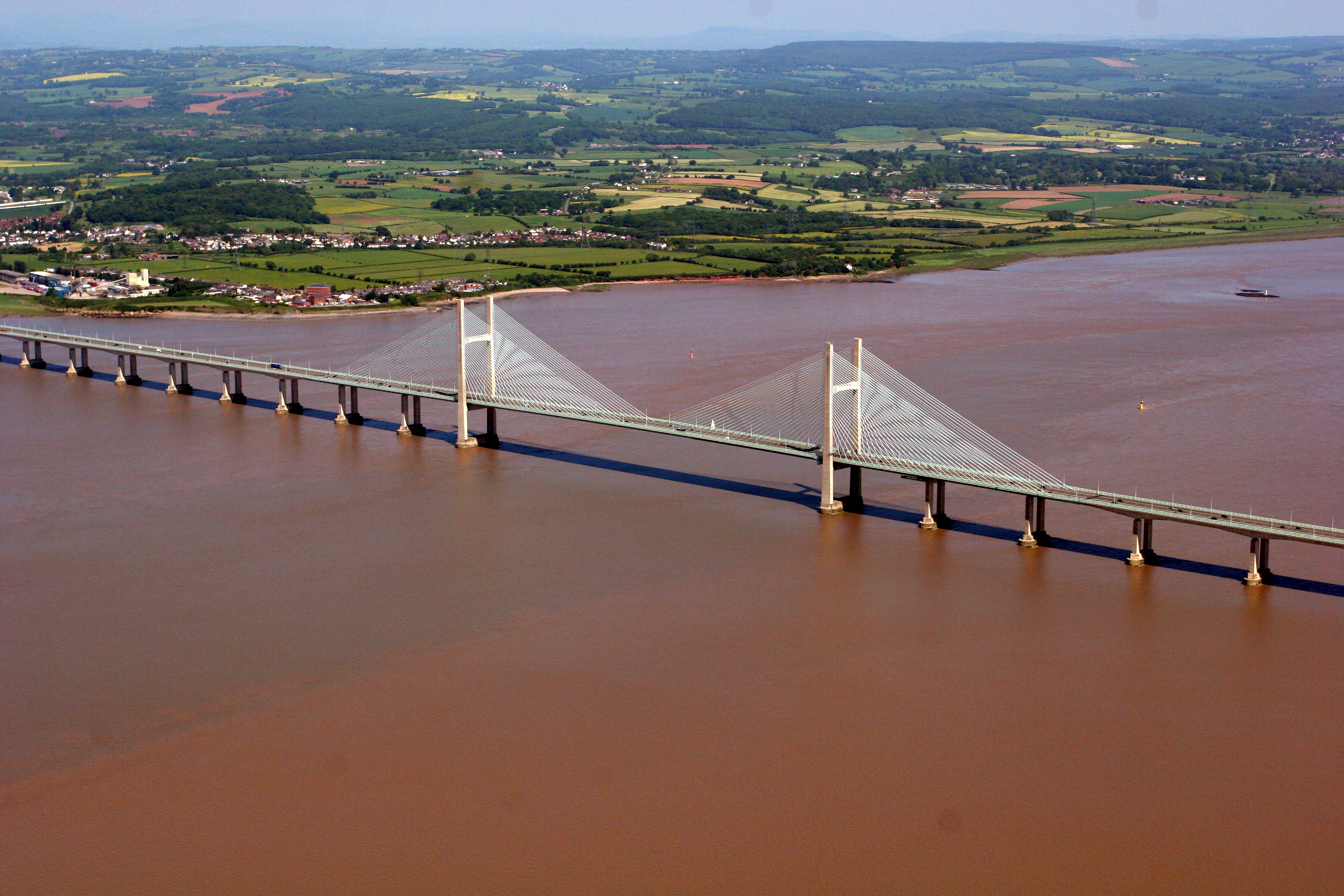 Aerial view of the M4 Second Severn Bridge Crossing over the estuary