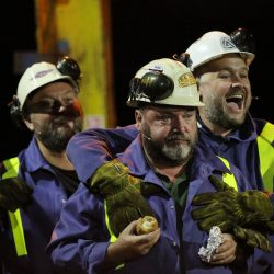 """Pictured: Re: Dress rehearsal of """"We'Re Still Here"""", a play created by Rachel Trezise, Common Wealth and the National Theatre Wales about steelworkers, which will be performed in Byass Works, a disused industrial unit, in Port Talbot, south Wales, UK."""