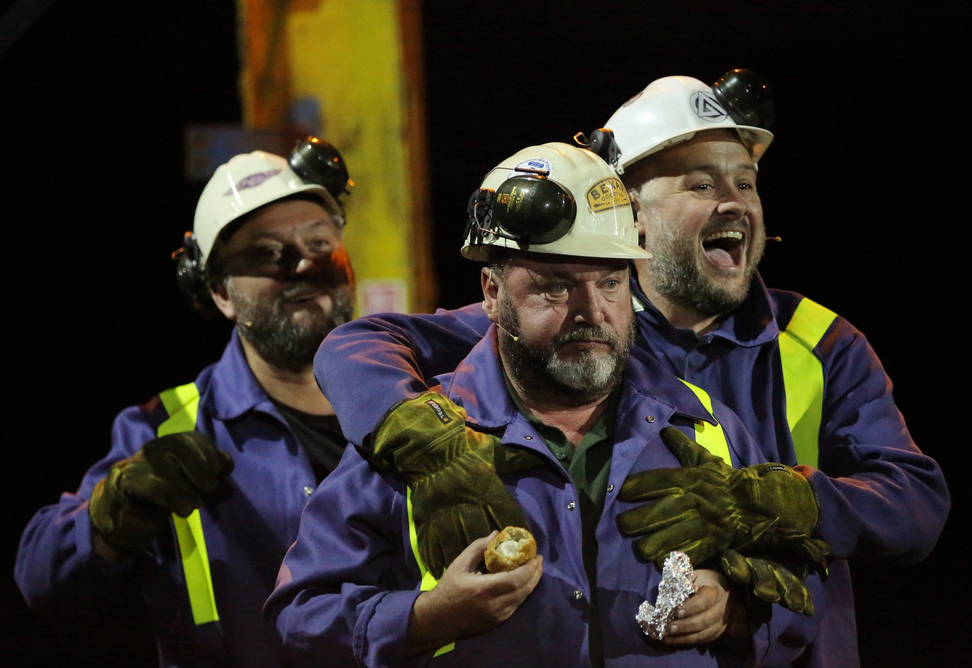"Pictured: Re: Dress rehearsal of ""We'Re Still Here"", a play created by Rachel Trezise, Common Wealth and the National Theatre Wales about steelworkers, which will be performed in Byass Works, a disused industrial unit, in Port Talbot, south Wales, UK."