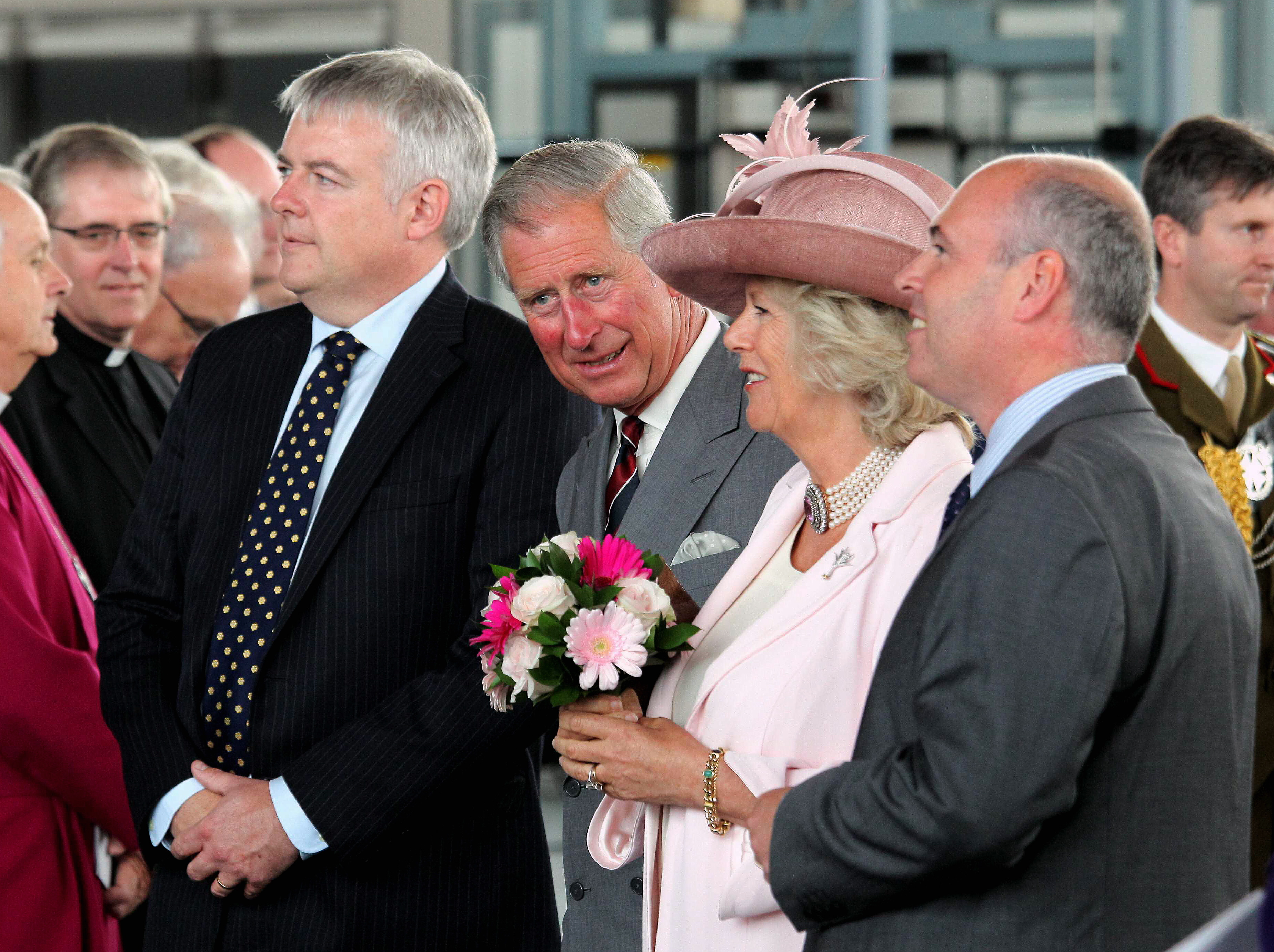 Pictured L-R: First Minister for Wales Carwyn Jones with Prince Charles and Camilla, the Duchess of Cornwall. Re: HRH The Queen Elizabeth accompanied by her husband, Philip, The Duke of Edinburgh and Charles The Prince of Wales and his wife Camilla, The Duchess of Cornwall, visiting the Welsh Assembly Parliament in Cardiff Bay. Tuesday 07 June 2011